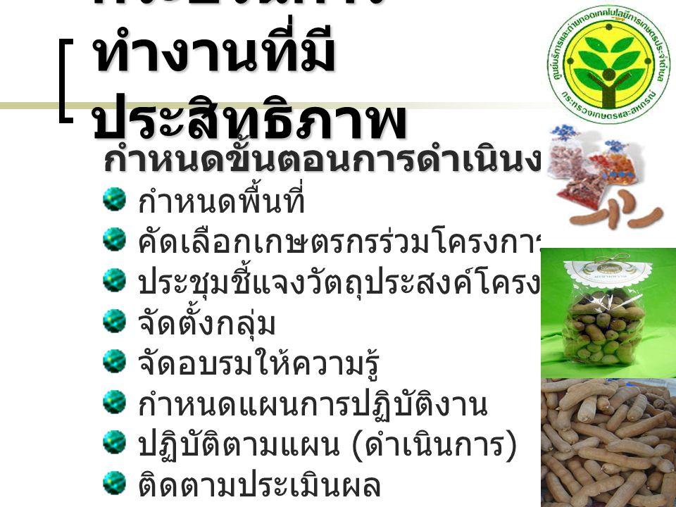กระบวนการ ทำงาน ที่มี ประสิทธิภาพ ( ต่อ ) การมีส่วนร่วมของ เกษตรกร กำหนดแผนการ ปฏิบัติงานร่วมกัน เกษตรกรมีส่วนร่วมใน การ วางแผนการผลิต