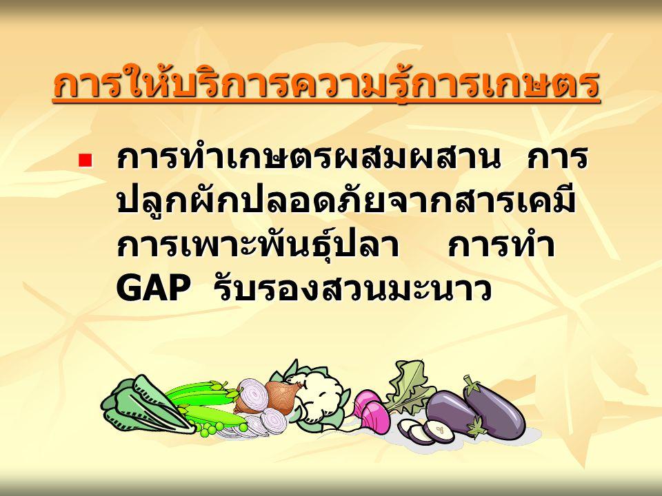 การให้บริการความรู้การเกษตรการให้บริการความรู้การเกษตร การทำเกษตรผสมผสาน การ ปลูกผักปลอดภัยจากสารเคมี การเพาะพันธุ์ปลา การทำ GAP รับรองสวนมะนาว การทำเ