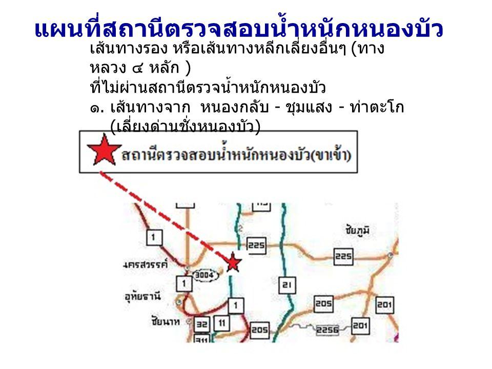 เส้นทางรอง หรือเส้นทางหลีกเลี่ยงอื่นๆ ( ทาง หลวง ๔ หลัก ) ที่ไม่ผ่านสถานีตรวจน้ำหนักหนองบัว ๑.