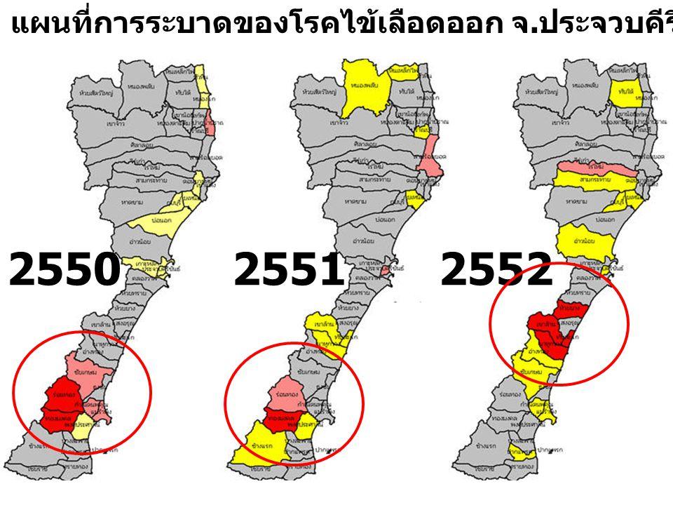 255025512552 แผนที่การระบาดของโรคไข้เลือดออก จ. ประจวบคีรีขันธ์ ปี 2550 - 2552