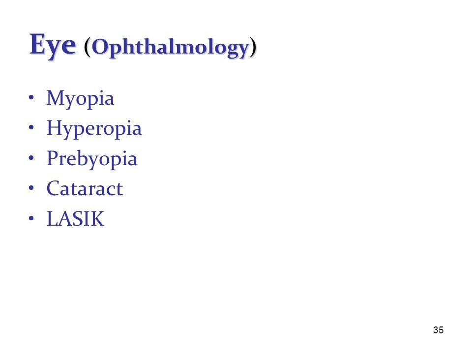 35 Eye (Ophthalmology) Myopia Hyperopia Prebyopia Cataract LASIK
