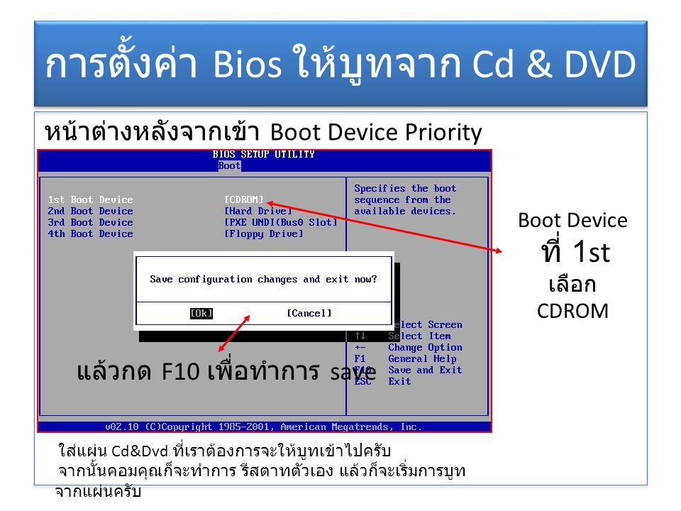 การตั้งค่า Bios ให้บูทจาก Cd & DVD หน้าต่างหลังจากเข้า Boot Device Priority Boot Device ที่ 1st เลือก CDROM แล้วกด F10 เพื่อทำการ save ใส่แผ่น Cd&Dvd