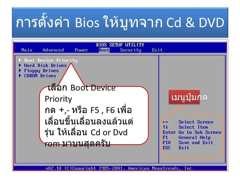 การตั้งค่า Bios ให้บูทจาก Cd & DVD เลือก Boot Device Priority กด +,- หรือ F5, F6 เพื่อ เลื่อนขึ้นเลื่อนลงแล้วแต่ รุ่น ให้เลื่อน Cd or Dvd rom มาบนสุดค