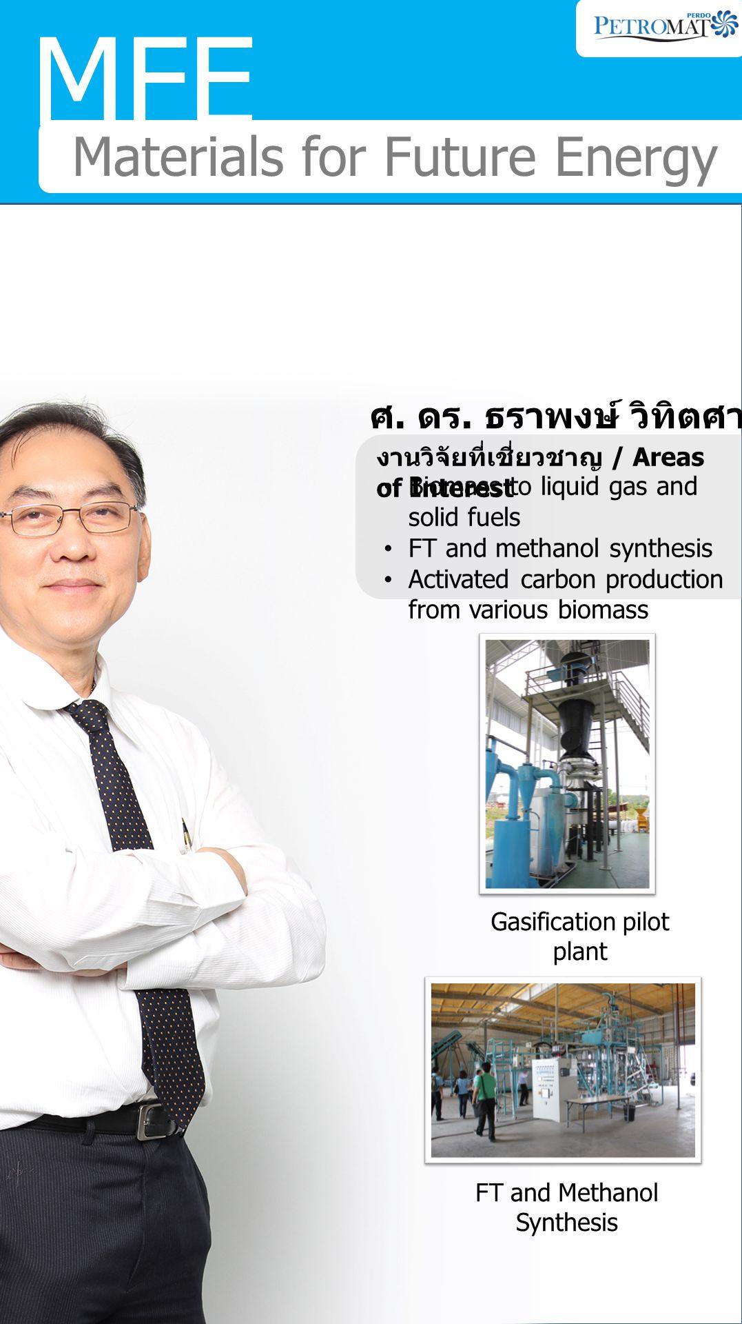 MFE Materials for Future Energy รศ. ดร. เก็จวลี พฤกษาทร งานวิจัยที่เชี่ยวชาญ / Areas of Interest Electrochemical Process Energy and environmental trea