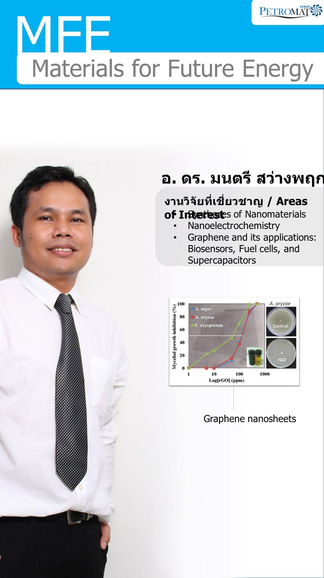 MFE Materials for Future Energy ศ. ดร. ธราพงษ์ วิทิตศานต์ งานวิจัยที่เชี่ยวชาญ / Areas of Interest Biomass to liquid gas and solid fuels FT and methan