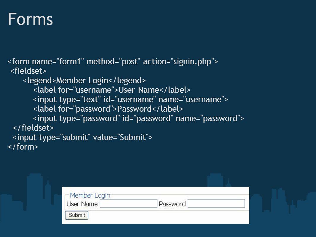 Forms Member Login User Name Password