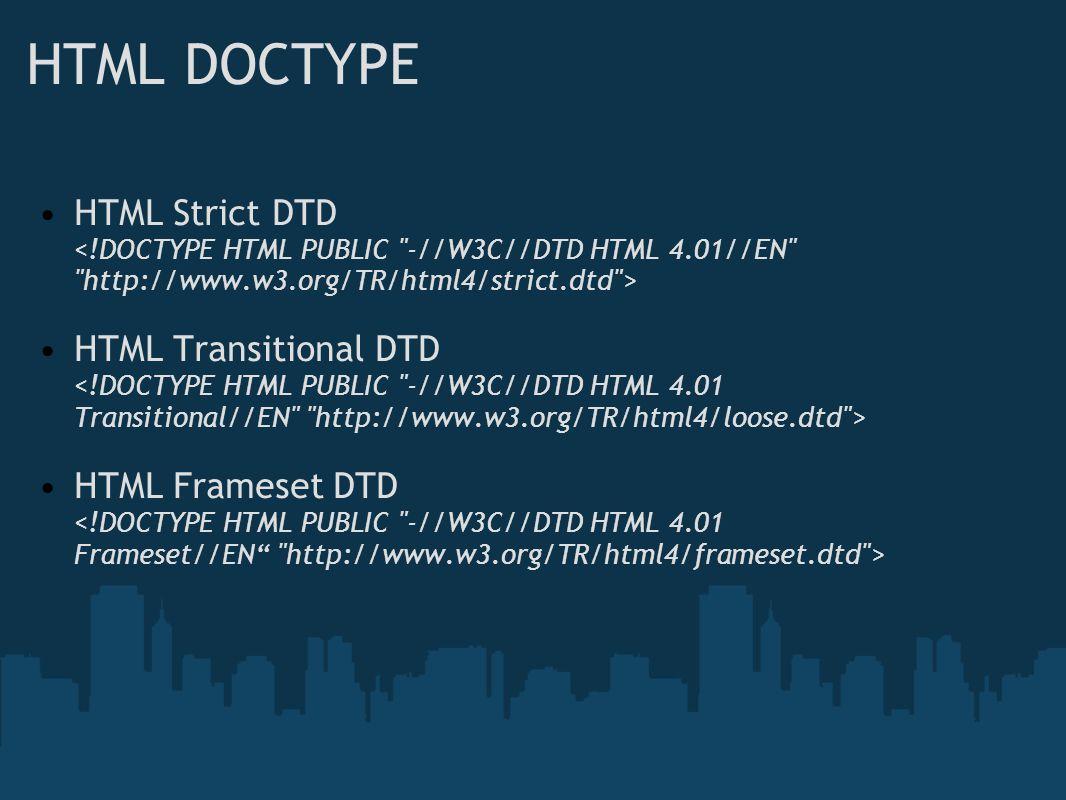 HTML DOCTYPE HTML Strict DTD HTML Transitional DTD HTML Frameset DTD