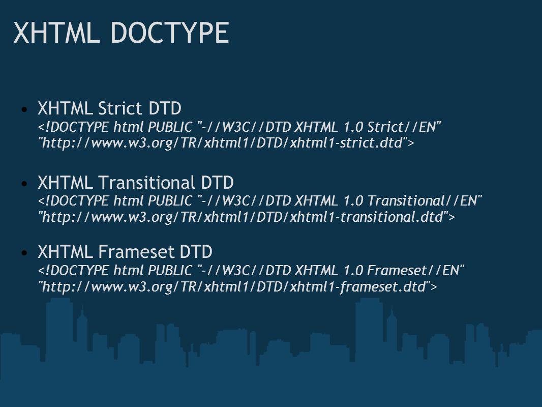 XHTML DOCTYPE XHTML Strict DTD XHTML Transitional DTD XHTML Frameset DTD