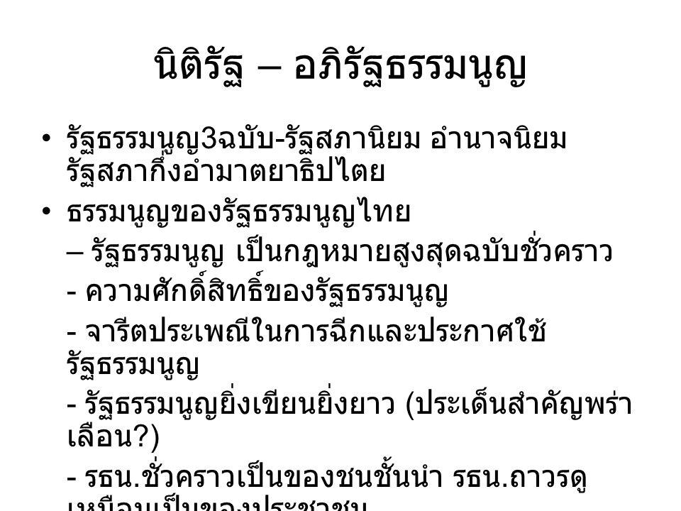 นิติรัฐ – อภิรัฐธรรมนูญ รัฐธรรมนูญ 3 ฉบับ - รัฐสภานิยม อำนาจนิยม รัฐสภากึ่งอำมาตยาธิปไตย ธรรมนูญของรัฐธรรมนูญไทย – รัฐธรรมนูญ เป็นกฎหมายสูงสุดฉบับชั่ว