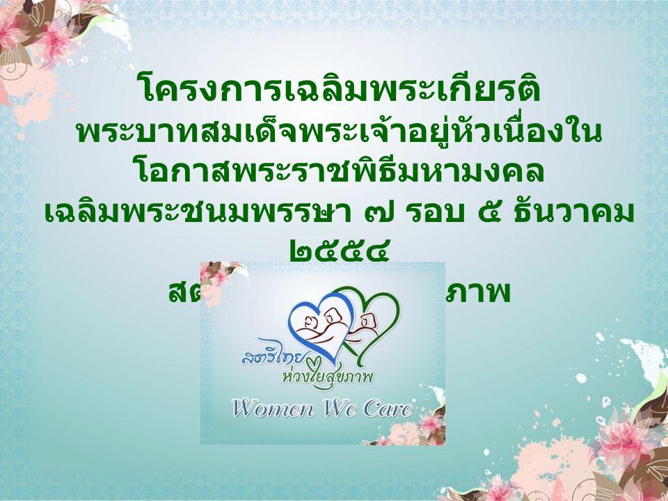 โครงการเฉลิมพระเกียรติ พระบาทสมเด็จพระเจ้าอยู่หัวเนื่องใน โอกาสพระราชพิธีมหามงคล เฉลิมพระชนมพรรษา ๗ รอบ ๕ ธันวาคม ๒๕๕๔ สตรีไทย ห่วงใยสุขภาพ