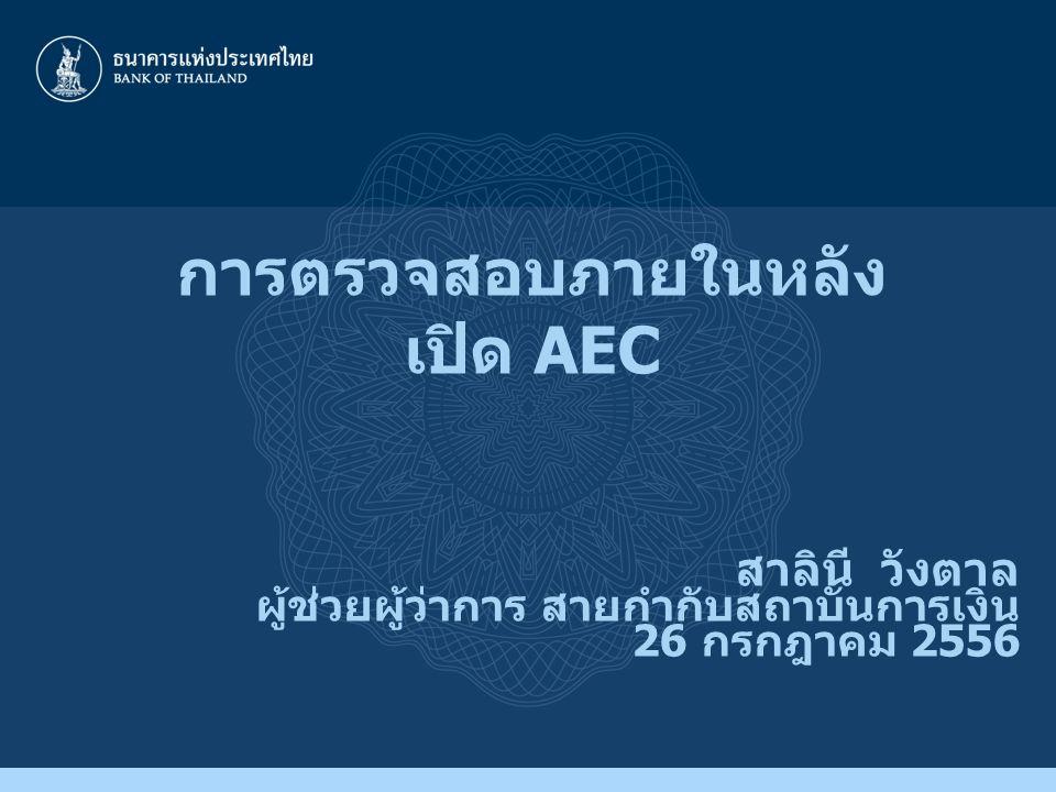 การตรวจสอบภายในหลัง เปิด AEC สาลินี วังตาล ผู้ช่วยผู้ว่าการ สายกำกับสถาบันการเงิน 26 กรกฎาคม 2556