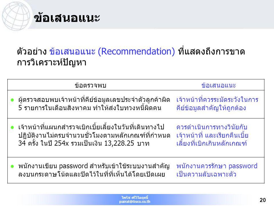 ไพรัช ศรีวิไลฤทธิ์ pairat@tisco.co.th 20 ข้อเสนอแนะ ตัวอย่าง ข้อเสนอแนะ (Recommendation) ที่แสดงถึงการขาด การวิเคราะห์ปัญหา ข้อตรวจพบข้อเสนอแนะ ผู้ตรว