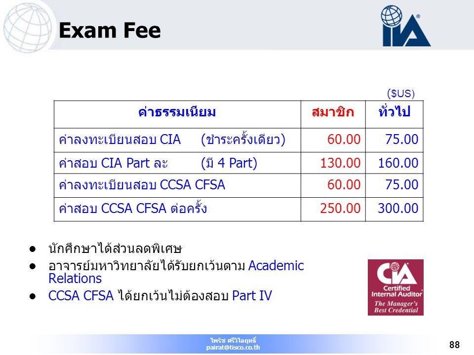 ไพรัช ศรีวิไลฤทธิ์ pairat@tisco.co.th 88 Exam Fee นักศึกษาได้ส่วนลดพิเศษ อาจารย์มหาวิทยาลัยได้รับยกเว้นตาม Academic Relations CCSA CFSA ได้ยกเว้นไม่ต้