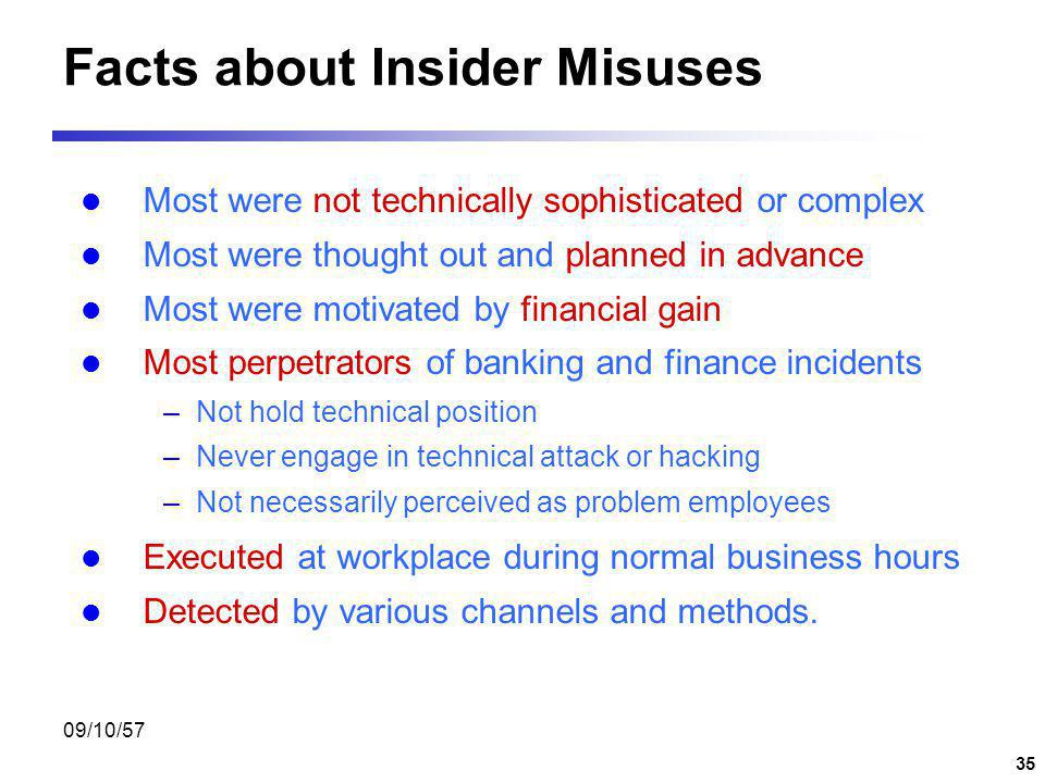 09/10/57 34 Insider Threat Deliberate misuse by those who are authorized to use computer and networks. Insiders include employees, contactors, consultants, temporary helper, personnel from third-party business partner, etc.