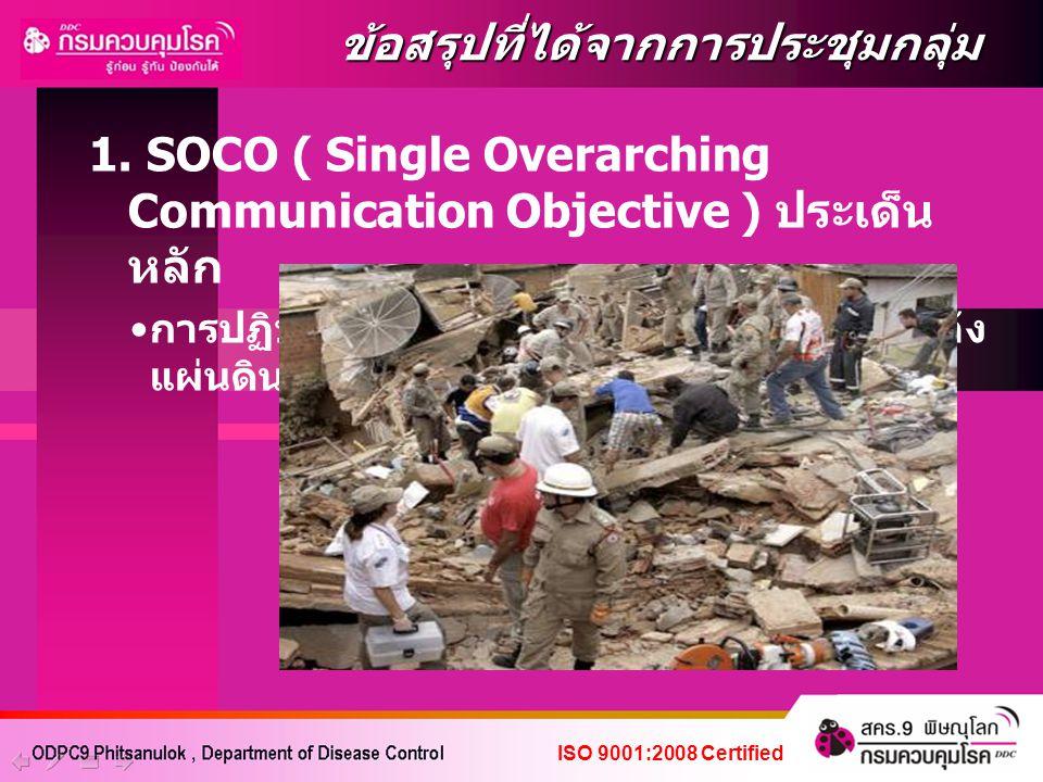 1. SOCO ( Single Overarching Communication Objective ) ประเด็น หลัก การปฏิบัติตัวเพื่อป้องกันโรคและภัยสุขภาพหลัง แผ่นดินไหว ข้อสรุปที่ได้จากการประชุมก