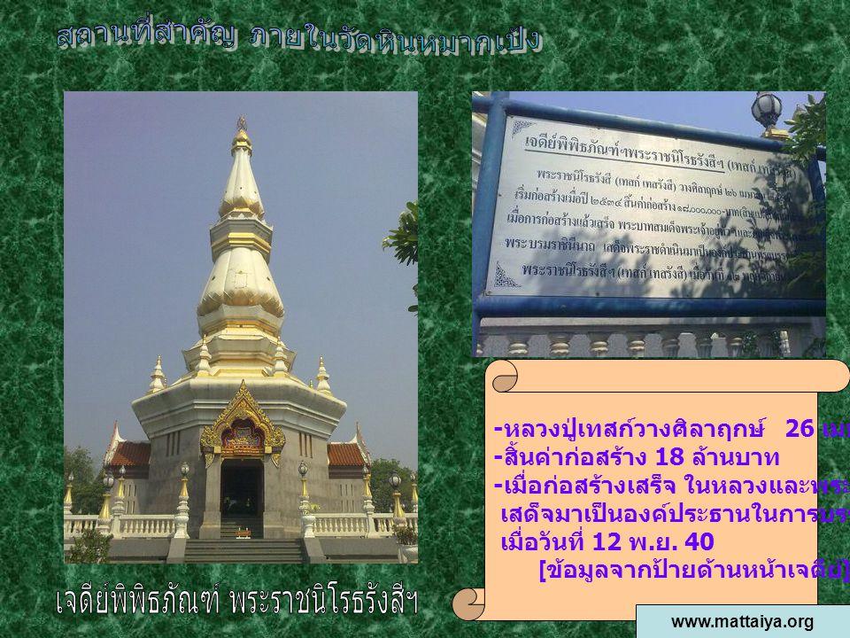 - หลวงปู่เทสก์วางศิลาฤกษ์ 26 เมษายน 2534 - สิ้นค่าก่อสร้าง 18 ล้านบาท - เมื่อก่อสร้างเสร็จ ในหลวงและพระราชินี เสด็จมาเป็นองค์ประธานในการบรรจุอัฐิ หลวง