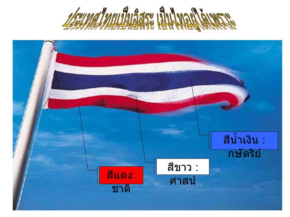 สถาบันชาติ คือ ความเป็นประเทศ มีอาณาเขต มีอิสระ มีการปกครองตนเองไม่ขึ้นอยู่กับประเทศใด เป็นสถาบันชาติอยู่ได้เพราะ บรรพบุรุษของไทยแต่โบราณได้เสียสละเลือดเนื้อรักษาแผ่นดินไว้ ให้คนรุ่นหลัง