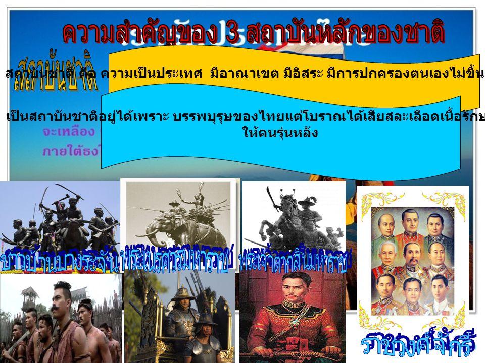 สถาบันชาติ คือ ความเป็นประเทศ มีอาณาเขต มีอิสระ มีการปกครองตนเองไม่ขึ้นอยู่กับประเทศใด เป็นสถาบันชาติอยู่ได้เพราะ บรรพบุรุษของไทยแต่โบราณได้เสียสละเลื