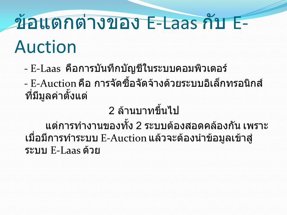 ข้อแตกต่างของ E-Laas กับ E- Auction - E-Laas คือการบันทึกบัญชีในระบบคอมพิวเตอร์ - E-Auction คือ การจัดซื้อจัดจ้างด้วยระบบอิเล็กทรอนิกส์ ที่มีมูลค่าตั้