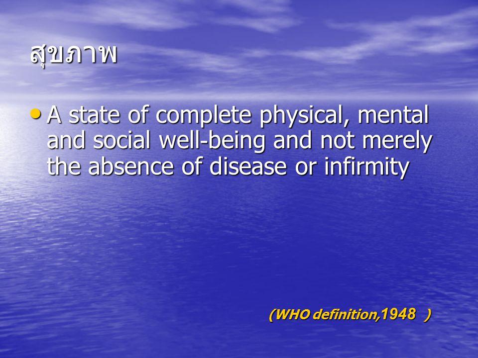สิ่งจำเป็นเบื้องต้นสำหรับสุขภาพ ภาวะแวดล้อม และทรัพยากรที่สำคัญต่อการมีสุขภาวะ ที่ดี ประกอบด้วย ภาวะแวดล้อม และทรัพยากรที่สำคัญต่อการมีสุขภาวะ ที่ดี ประกอบด้วย สันติสุข สันติสุข ที่อยู่อาศัย ที่อยู่อาศัย การศึกษา การศึกษา อาหาร อาหาร รายได้ รายได้ ระบบนิเวศที่มีเสถียรภาพ ระบบนิเวศที่มีเสถียรภาพ ทรัพยากรที่ยั่งยืน ทรัพยากรที่ยั่งยืน ความยุติธรรมและความเท่าเทียมในสังคม ความยุติธรรมและความเท่าเทียมในสังคม