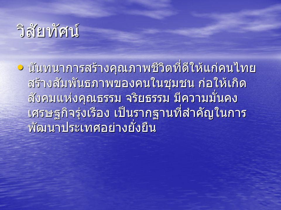 วิสัยทัศน์ นันทนาการสร้างคุณภาพชีวิตที่ดีให้แก่คนไทย สร้างสัมพันธภาพของคนในชุมชน ก่อให้เกิด สังคมแห่งคุณธรรม จริยธรรม มีความมั่นคง เศรษฐกิจรุ่งเรือง เป็นรากฐานที่สำคัญในการ พัฒนาประเทศอย่างยั่งยืน นันทนาการสร้างคุณภาพชีวิตที่ดีให้แก่คนไทย สร้างสัมพันธภาพของคนในชุมชน ก่อให้เกิด สังคมแห่งคุณธรรม จริยธรรม มีความมั่นคง เศรษฐกิจรุ่งเรือง เป็นรากฐานที่สำคัญในการ พัฒนาประเทศอย่างยั่งยืน