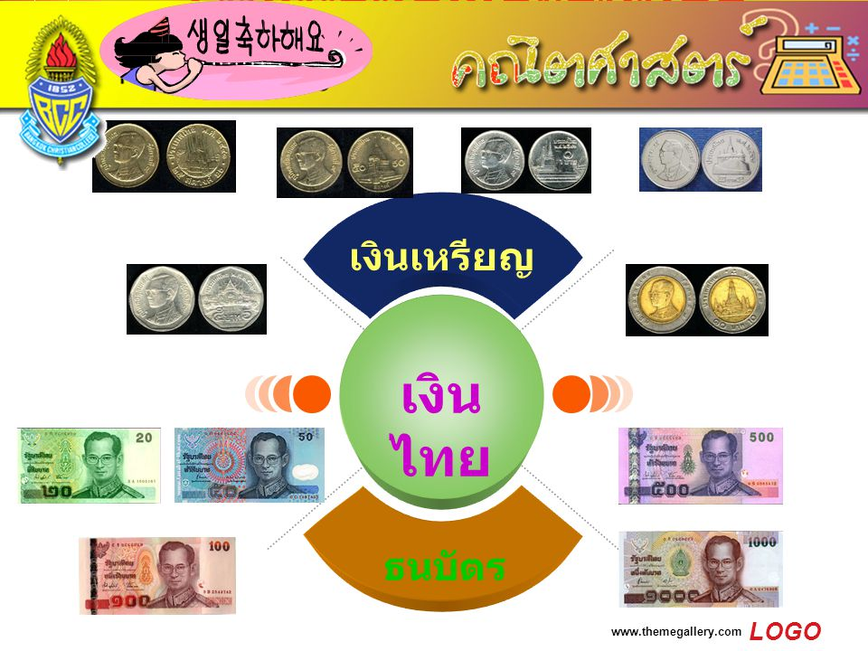 LOGO www.themegallery.com เงินเหรียญและธนบัตร ไทย เงิน ไทย เงินเหรียญ ธนบัตร