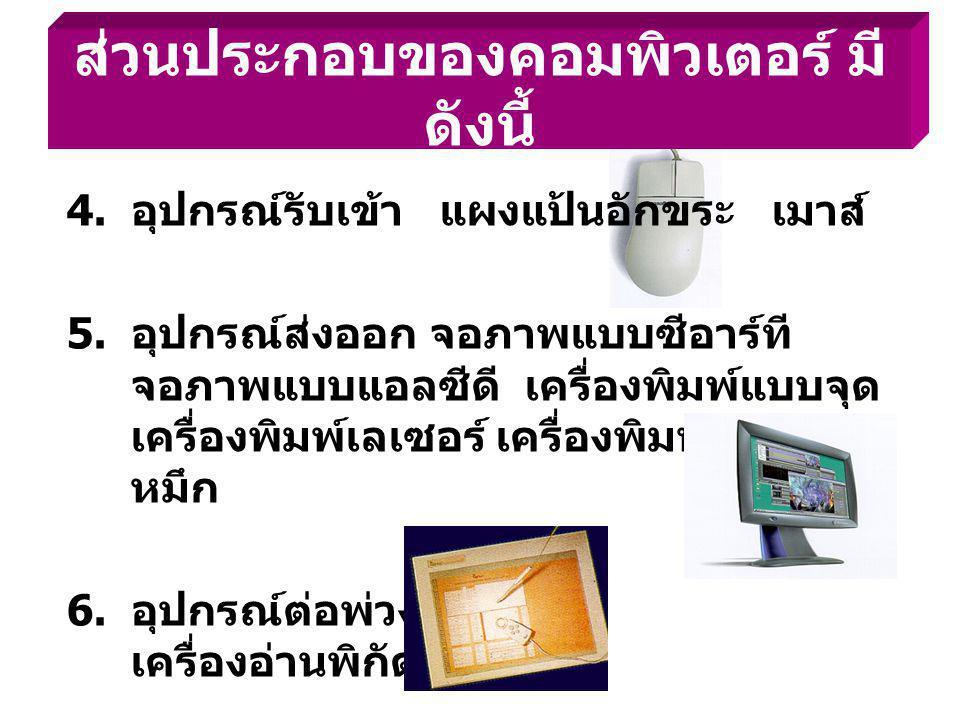 4. อุปกรณ์รับเข้า แผงแป้นอักขระ เมาส์ 5. อุปกรณ์ส่งออก จอภาพแบบซีอาร์ที จอภาพแบบแอลซีดี เครื่องพิมพ์แบบจุด เครื่องพิมพ์เลเซอร์ เครื่องพิมพ์แบบฉีด หมึก