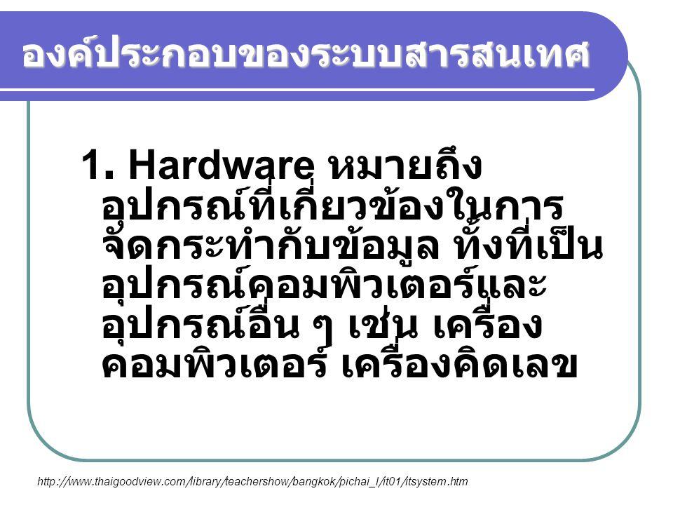 องค์ประกอบของระบบสารสนเทศ 1. Hardware หมายถึง อุปกรณ์ที่เกี่ยวข้องในการ จัดกระทำกับข้อมูล ทั้งที่เป็น อุปกรณ์คอมพิวเตอร์และ อุปกรณ์อื่น ๆ เช่น เครื่อง