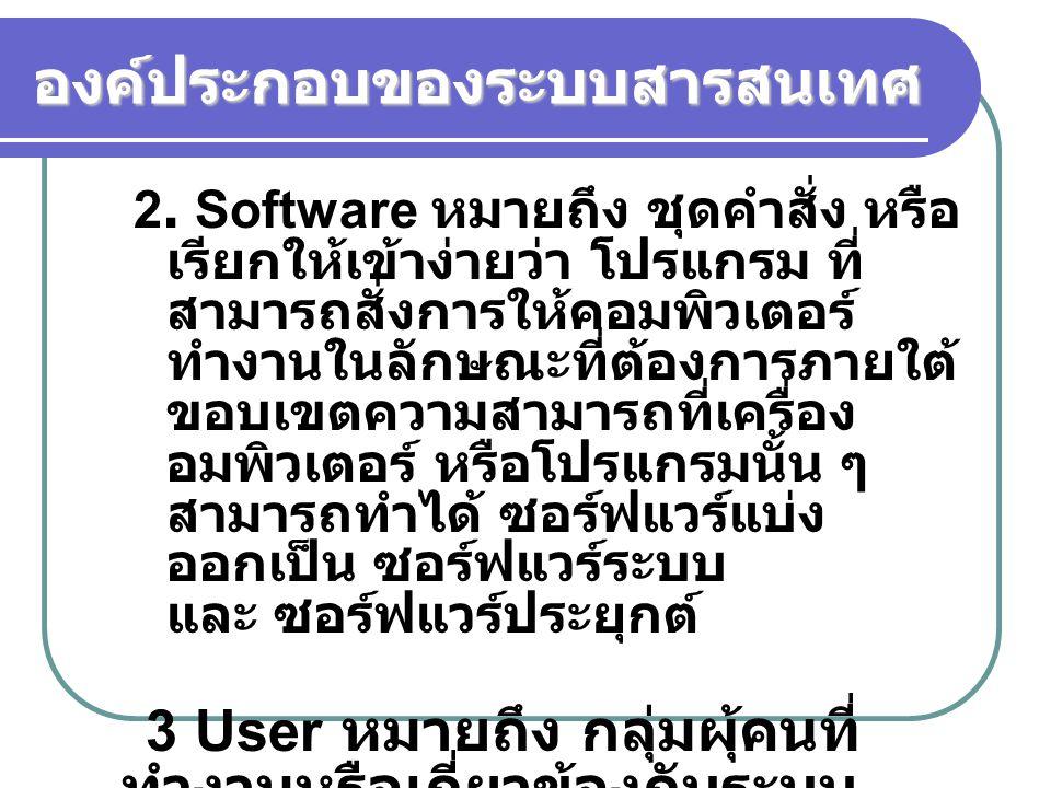 องค์ประกอบของระบบสารสนเทศ 2. Software หมายถึง ชุดคำสั่ง หรือ เรียกให้เข้าง่ายว่า โปรแกรม ที่ สามารถสั่งการให้คอมพิวเตอร์ ทำงานในลักษณะที่ต้องการภายใต้