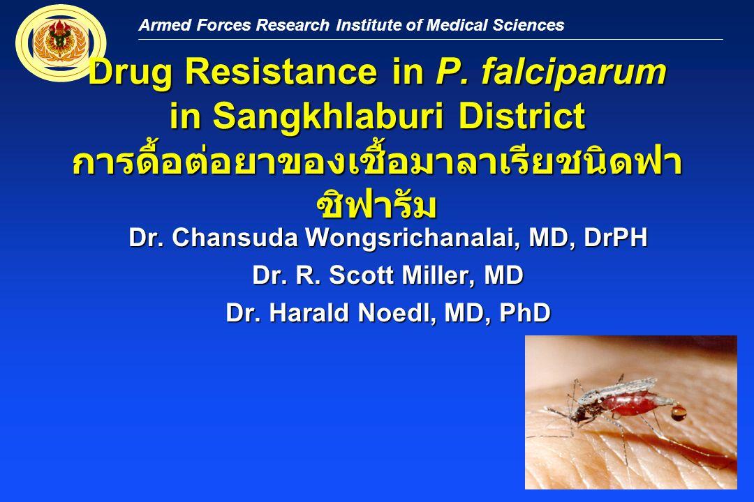 Armed Forces Research Institute of Medical Sciences Malaria as a Re-emerging Disease Development of Resistance in SE Asia มาลาเรียกลับมาเป็นโรคอุบัติซ้ำ รายงานการดื้อยาคลอโรควินในประเทศไทยเมื่อ ปี ๒๕๐๕ และตามด้วยยาแฟนซิดาร์ รายงานการดื้อยาคลอโรควินในประเทศไทยเมื่อ ปี ๒๕๐๕ และตามด้วยยาแฟนซิดาร์ เริ่มมีการดื้อยาควินินเมื่อปี ๒๕๒๓ โดยต้องใช้ ร่วมกับยา เตตร้าซัยคลิน เริ่มมีการดื้อยาควินินเมื่อปี ๒๕๒๓ โดยต้องใช้ ร่วมกับยา เตตร้าซัยคลิน เริ่มนำยาเมฟโฟควินมาใช้ในปี ๒๕๒๘ เริ่มนำยาเมฟโฟควินมาใช้ในปี ๒๕๒๘ ยาเมฟโฟควินเริ่มมีการดื้อระหว่างปี ๒๕๓๑ - ๒๕๓๕ ตามแนวชายแดนกัมพูชาและพม่า ยาเมฟโฟควินเริ่มมีการดื้อระหว่างปี ๒๕๓๑ - ๒๕๓๕ ตามแนวชายแดนกัมพูชาและพม่า Wongsrichanalai 2000