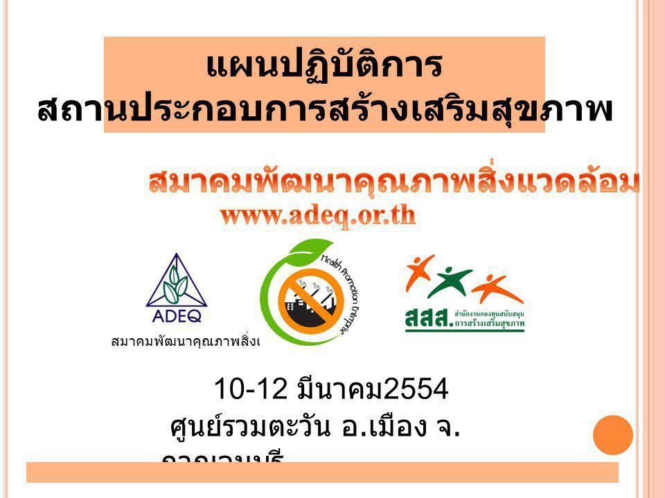 10-12 มีนาคม 2554 ศูนย์รวมตะวัน อ. เมือง จ. กาญจนบุรี สมาคมพัฒนาคุณภาพสิ่งแวดล้อม แผนปฏิบัติการ สถานประกอบการสร้างเสริมสุขภาพ