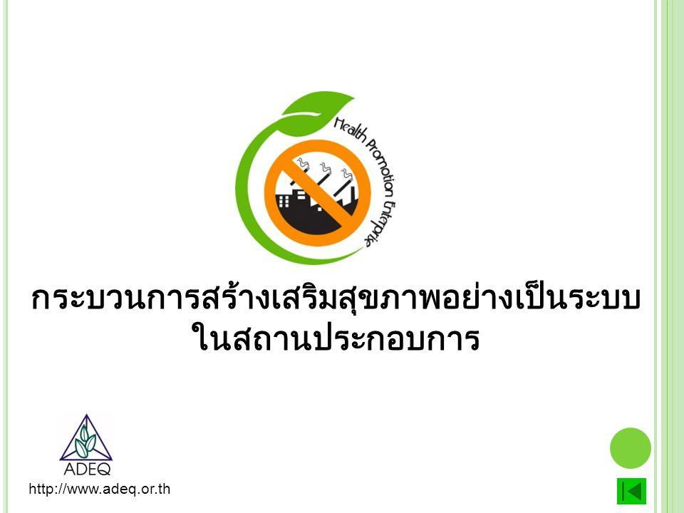 กระบวนการสร้างเสริมสุขภาพอย่างเป็นระบบ ในสถานประกอบการ http://www.adeq.or.th
