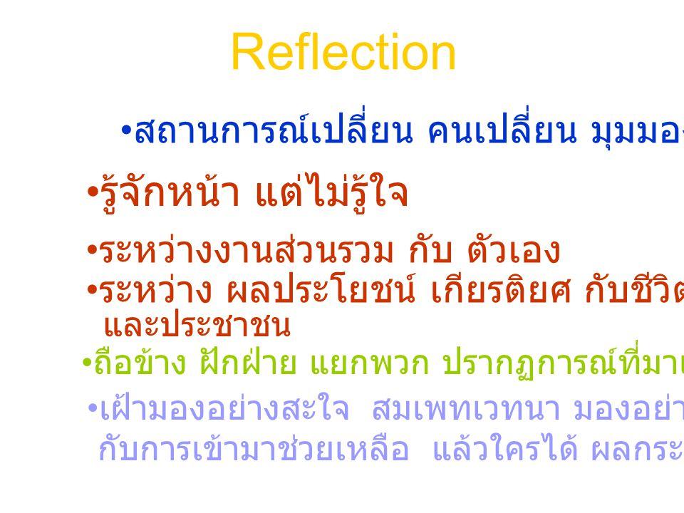 Reflection สถานการณ์เปลี่ยน คนเปลี่ยน มุมมองเปลี่ยน รู้จักหน้า แต่ไม่รู้ใจ ระหว่างงานส่วนรวม กับ ตัวเอง ระหว่าง ผลประโยชน์ เกียรติยศ กับชีวิตเชิงอุดมคติ ถือข้าง ฝักฝ่าย แยกพวก ปรากฏการณ์ที่มาแรงในสังคมไทย เฝ้ามองอย่างสะใจ สมเพทเวทนา มองอย่างเห็นใจ กับการเข้ามาช่วยเหลือ แล้วใครได้ ผลกระทบ และประชาชน