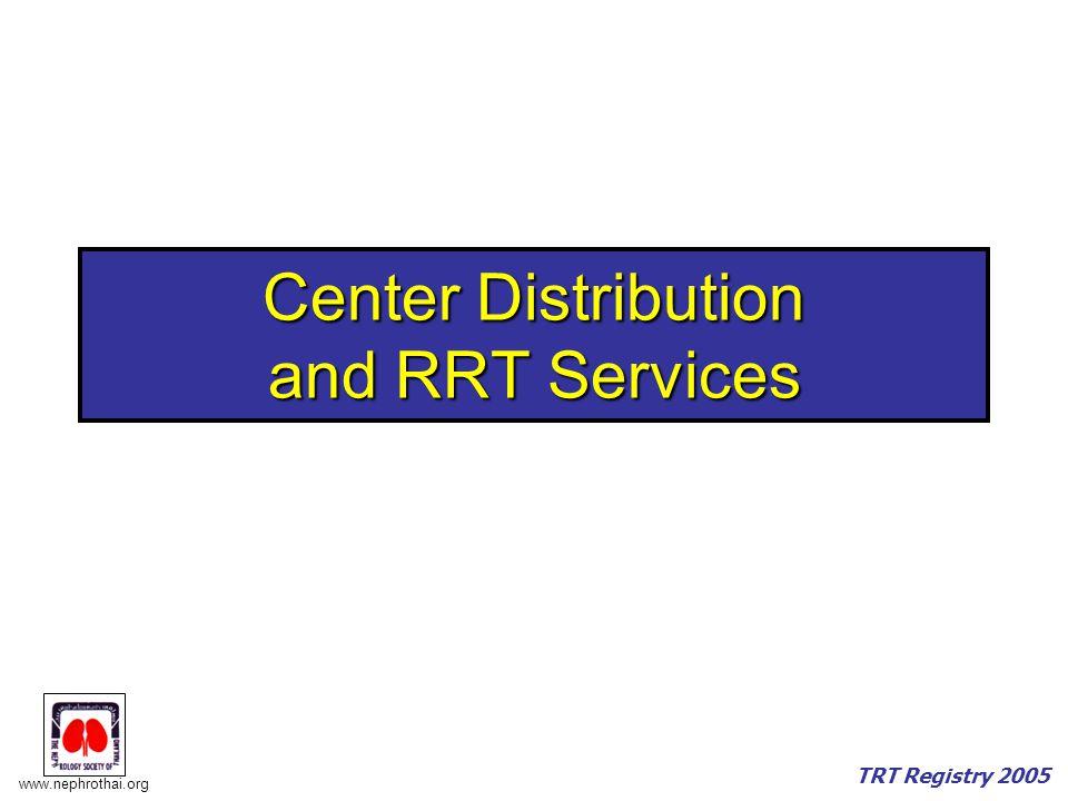 www.nephrothai.org TRT Registry 2005 Center Distribution and RRT Services