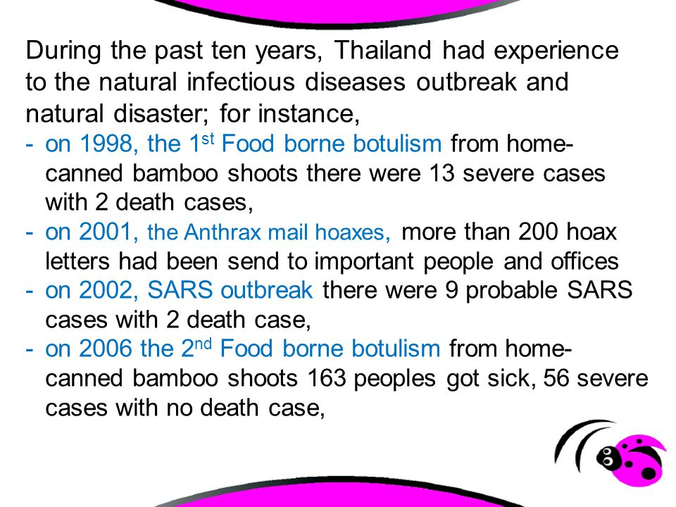 -on 2004-09 Avian Influenza H5N1 1 st and 2 nd round outbreak 25 confirmed cases with 17 died.