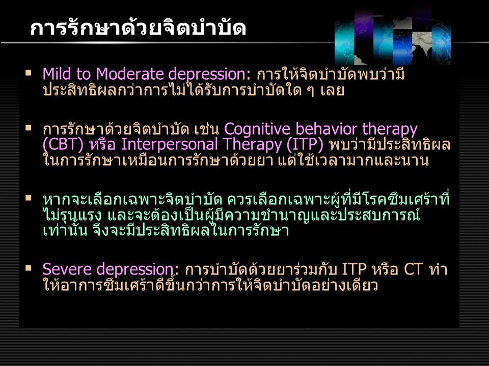 การรักษาด้วยจิตบำบัด  Mild to Moderate depression: การให้จิตบำบัดพบว่ามี ประสิทธิผลกว่าการไม่ได้รับการบำบัดใด ๆ เลย  การรักษาด้วยจิตบำบัด เช่น Cogni
