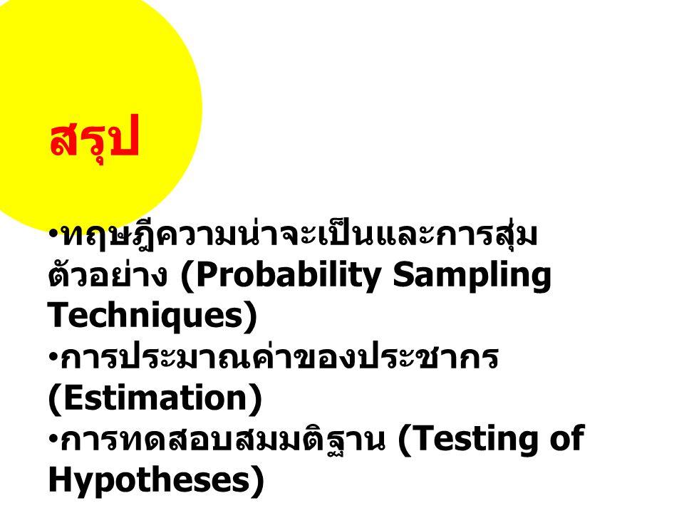 สรุป ทฤษฎีความน่าจะเป็นและการสุ่ม ตัวอย่าง (Probability Sampling Techniques) การประมาณค่าของประชากร (Estimation) การทดสอบสมมติฐาน (Testing of Hypotheses)