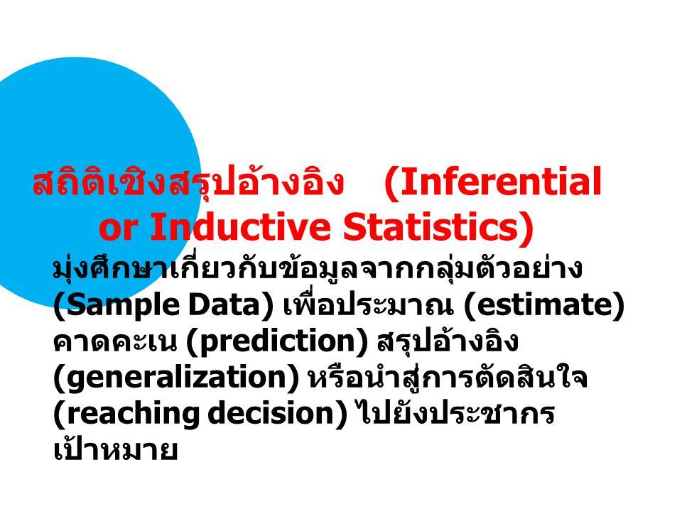 มุ่งศึกษาเกี่ยวกับข้อมูลจากกลุ่มตัวอย่าง (Sample Data) เพื่อประมาณ (estimate) คาดคะเน (prediction) สรุปอ้างอิง (generalization) หรือนำสู่การตัดสินใจ (reaching decision) ไปยังประชากร เป้าหมาย สถิติเชิงสรุปอ้างอิง (Inferential or Inductive Statistics)