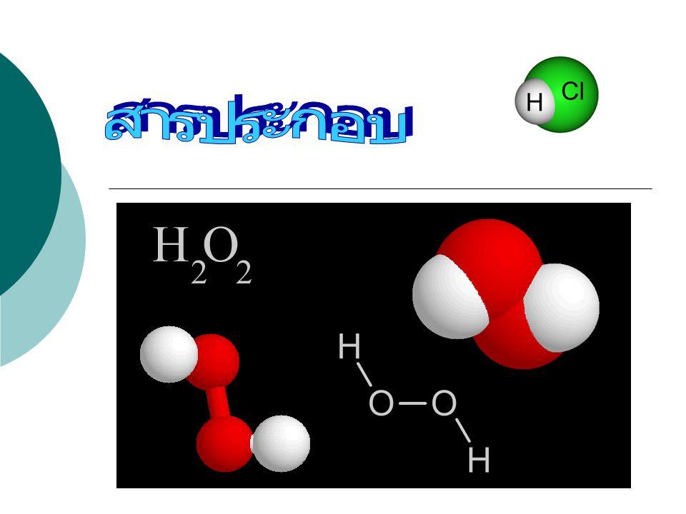 สารประกอบ  สารบริสุทธิ์ที่ประกอบด้วย อนุภาคที่เล็กที่สุดเป็นโมเลกุล  โมเลกุลเป็นอนุภาคที่เกิดจาก อะตอมของธาตุมารวมตัวกัน ด้วยสัดส่วนคงที่ และสามารถ แสดงสมบัติเฉพาะของสารนั้น ได้