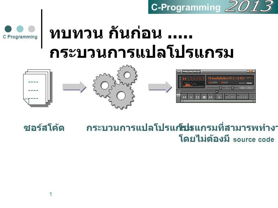 1 ทบทวน กันก่อน..... กระบวนการแปลโปรแกรม C Programming ---- ซอร์สโค้ดกระบวนการแปลโปรแกรมโปรแกรมที่สามารพทำงานได้ โดยไม่ต้องมี source code C-Programmin