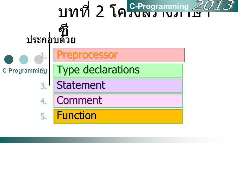 บทที่ 2 โครงสร้างภาษา ซี C Programming C-Programmingประกอบด้วย 1. Preprocessor 2. Type declarations 3. Statement 4. Comment 5. Function