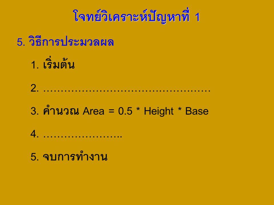5. วิธีการประมวลผล 1. เริ่มต้น 2. ………………………………………… 3. คำนวณ Area = 0.5 * Height * Base 4. ………………….. 5. จบการทำงาน โจทย์วิเคราะห์ปัญหาที่ 1
