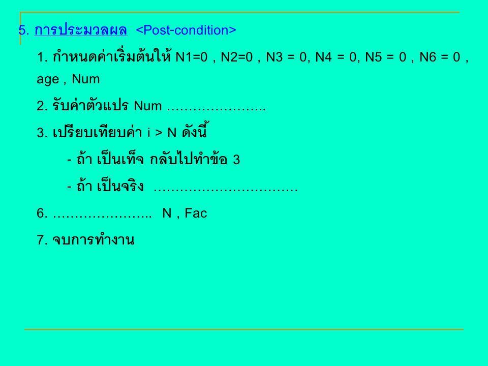 5. การประมวลผล 1. กำหนดค่าเริ่มต้นให้ N1=0, N2=0, N3 = 0, N4 = 0, N5 = 0, N6 = 0, age, Num 2. รับค่าตัวแปร Num ………………….. 3. เปรียบเทียบค่า i > N ดังนี