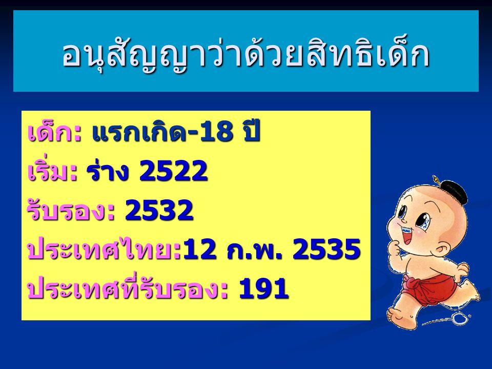 เด็ก: แรกเกิด-18 ปี เริ่ม: ร่าง 2522 รับรอง: 2532 ประเทศไทย:12 ก.พ. 2535 ประเทศที่รับรอง: 191 อนุสัญญาว่าด้วยสิทธิเด็ก