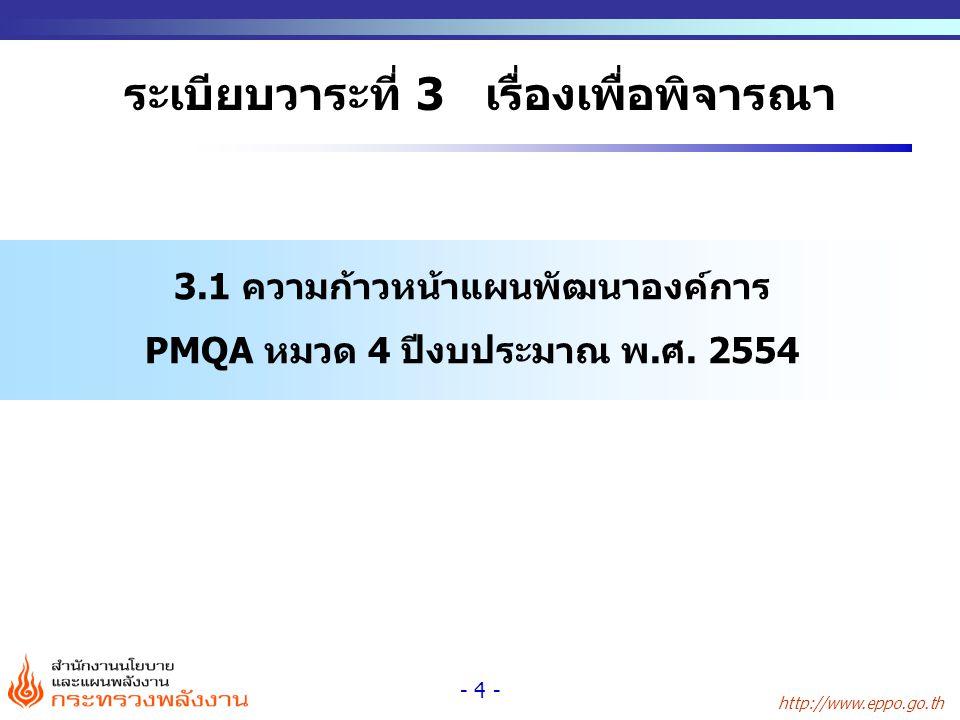 http://www.eppo.go.th - 4 - ระเบียบวาระที่ 3 เรื่องเพื่อพิจารณา 3.1 ความก้าวหน้าแผนพัฒนาองค์การ PMQA หมวด 4 ปีงบประมาณ พ.ศ. 2554