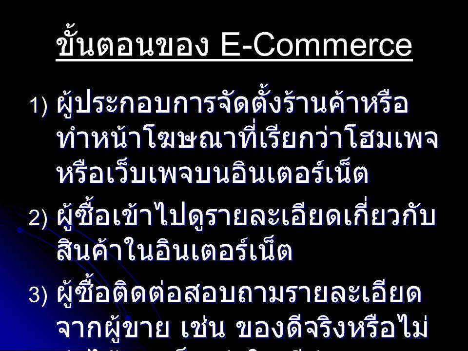 ขั้นตอนของ E-Commerce 1) ผู้ประกอบการจัดตั้งร้านค้าหรือ ทำหน้าโฆษณาที่เรียกว่าโฮมเพจ หรือเว็บเพจบนอินเตอร์เน็ต 2) ผู้ซื้อเข้าไปดูรายละเอียดเกี่ยวกับ สินค้าในอินเตอร์เน็ต 3) ผู้ซื้อติดต่อสอบถามรายละเอียด จากผู้ขาย เช่น ของดีจริงหรือไม่ ส่งได้รวดเร็วเท่าใด มีส่วนลด หรือไม่ เป็นต้น