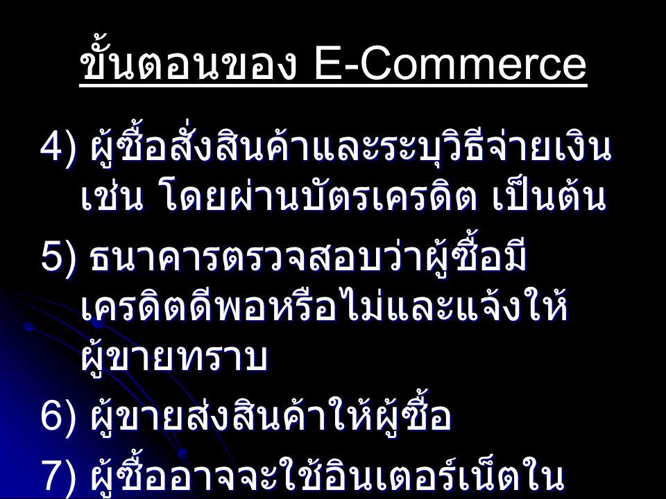 ขั้นตอนของ E-Commerce 4) ผู้ซื้อสั่งสินค้าและระบุวิธีจ่ายเงิน เช่น โดยผ่านบัตรเครดิต เป็นต้น 5) ธนาคารตรวจสอบว่าผู้ซื้อมี เครดิตดีพอหรือไม่และแจ้งให้ ผู้ขายทราบ 6) ผู้ขายส่งสินค้าให้ผู้ซื้อ 7) ผู้ซื้ออาจจะใช้อินเตอร์เน็ตใน การติดต่อขอบริการหลังการขาย จากผู้ขาย