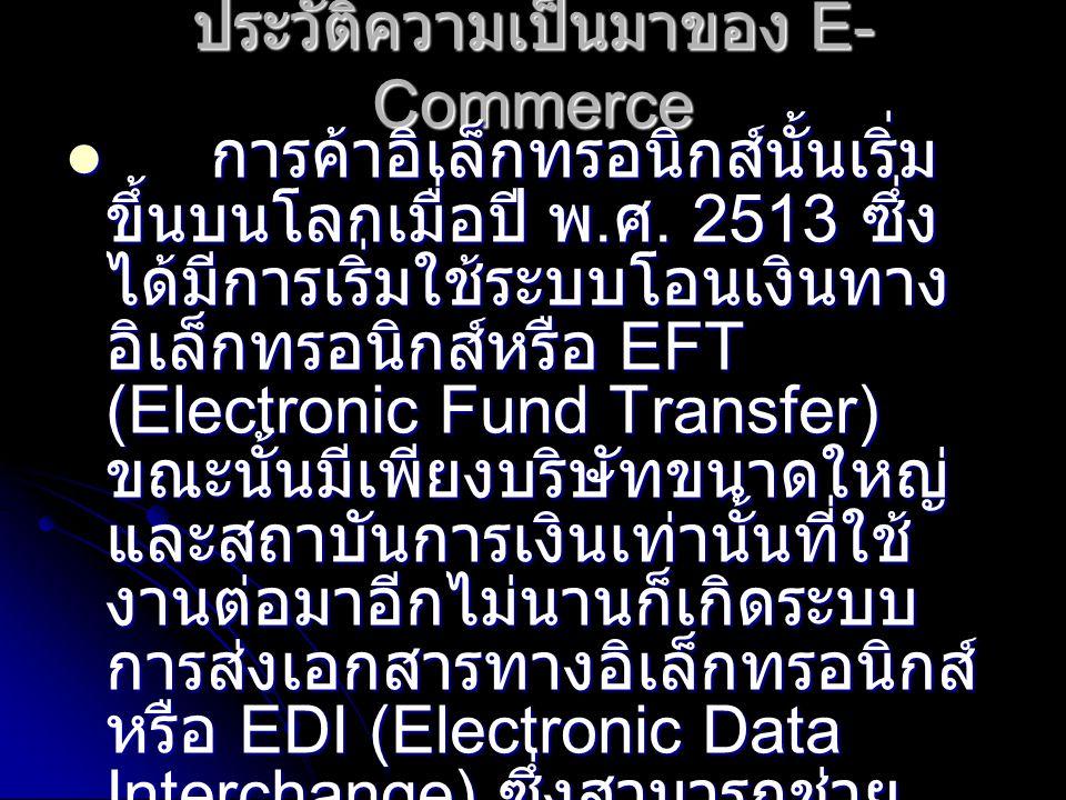 ประวัติความเป็นมาของ E- Commerce การค้าอิเล็กทรอนิกส์นั้นเริ่ม ขึ้นบนโลกเมื่อปี พ.