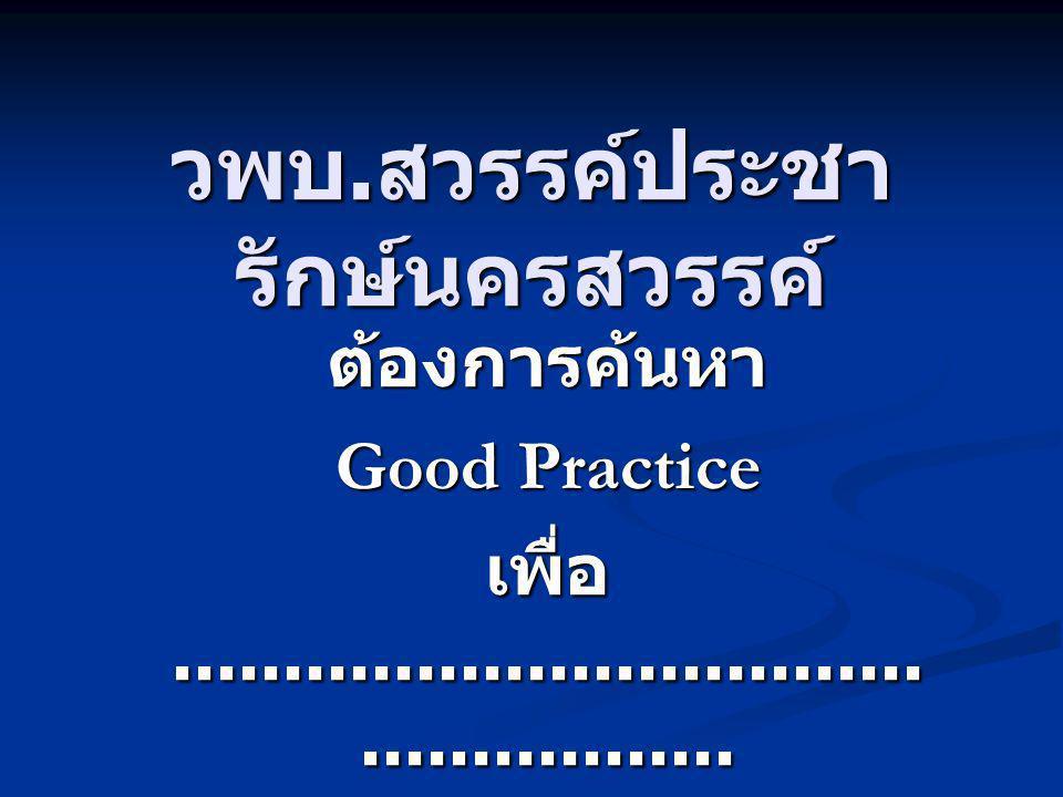 เหตุผลในการค้นหา Good/Best Practices ต้องการตัวอย่างหรือต้นแบบที่ดี เกี่ยวกับแนวทางหรือวิธีการ ปฏิบัติที่ดีในเรื่องนั้นๆ ต้องการตัวอย่างหรือต้นแบบที่ดี เกี่ยวกับแนวทางหรือวิธีการ ปฏิบัติที่ดีในเรื่องนั้นๆ ต้องการให้เกิดการปรับปรุงและ พัฒนางานให้เกิดประสิทธิภาพ ประสิทธิผลของงาน ต้องการให้เกิดการปรับปรุงและ พัฒนางานให้เกิดประสิทธิภาพ ประสิทธิผลของงาน ต้องการให้คนในองค์กรเกิดการ เรียนรู้จากบทเรียนประสบการณ์ ที่ดีที่ควรเรียนรู้ร่วมกัน ต้องการให้คนในองค์กรเกิดการ เรียนรู้จากบทเรียนประสบการณ์ ที่ดีที่ควรเรียนรู้ร่วมกัน หาเบื้องหลังความสำเร็จ หาเบื้องหลังความสำเร็จ