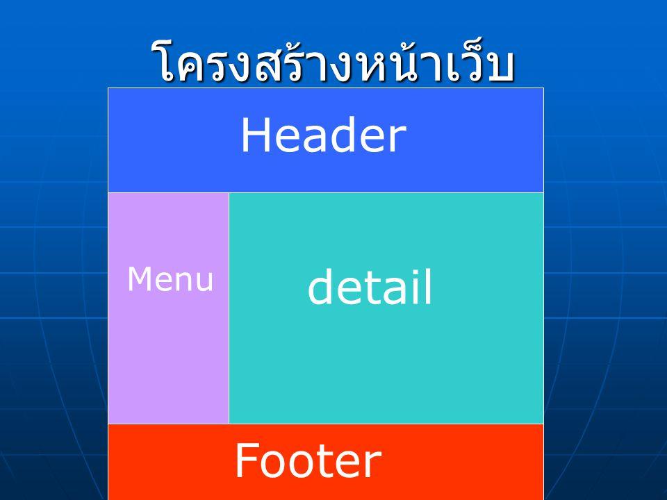 โครงสร้างหน้าเว็บ Header detail Footer Menu